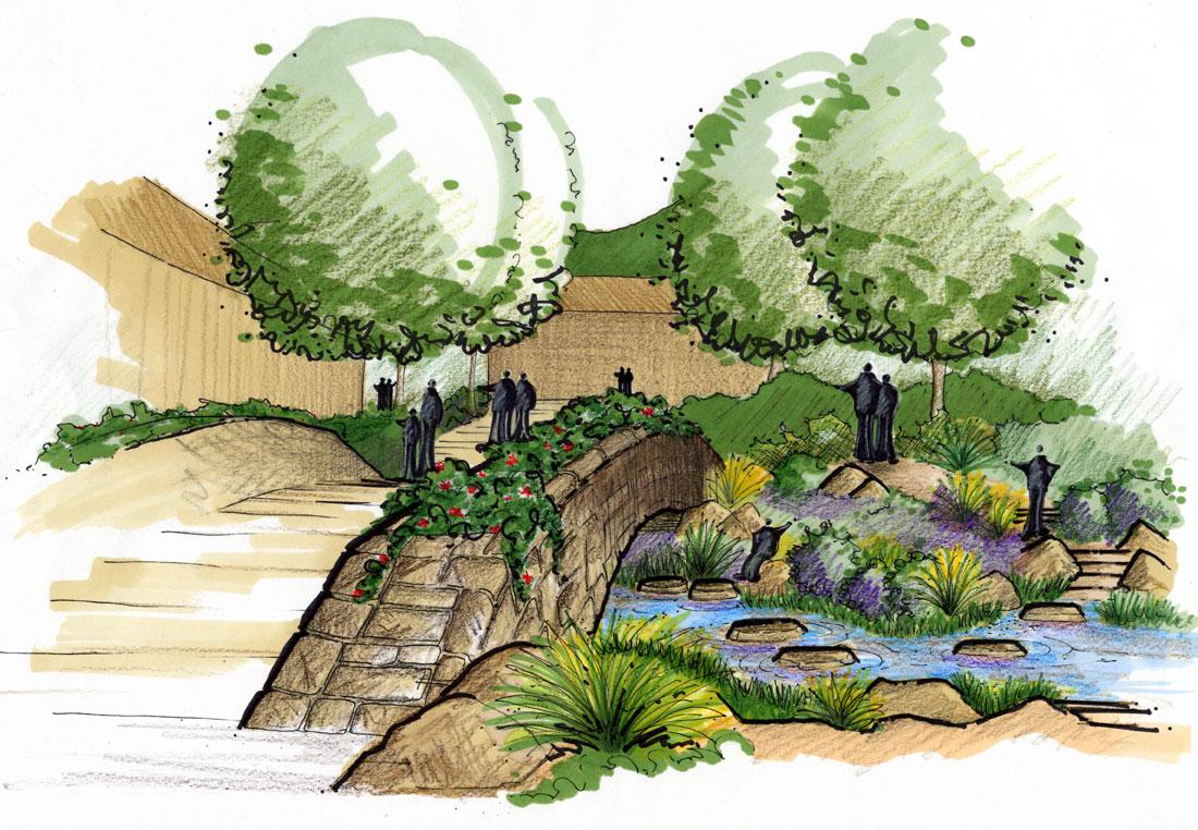 27 fine landscape architecture sketches for Landscape design sketches